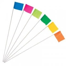 "Keson STK21GL Glo-Lime Fluorescent Surveyor's Stake Flag (2-1/2"" X 3-1/2"") 21"" wire, 100-lot bundle"